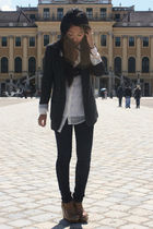 white H&M blouse - gray Oasis blazer - blue Cheap Monday jeans - beige Mango sho