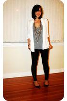 white Zara blouse - black Zara pants - gray American Apparel top