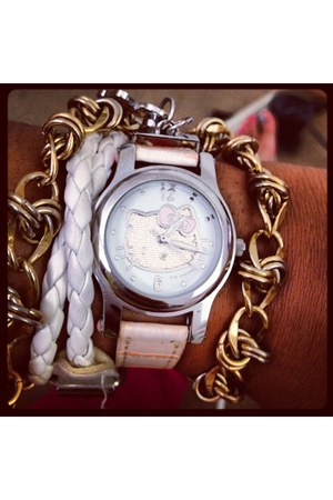 light pink watch - white bracelet - bracelet