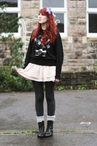blue Sewing Shop accessories - black vintage sweater - pink H&M skirt - black To