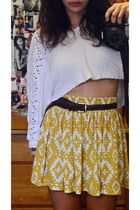 gold Forever 21 skirt - white vintage sweater - brown vintage belt