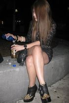 black dress - black Jeffery Campbell shoes - black Chanel accessories - black Sk