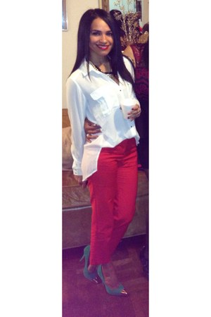 ivory H&M shirt - red H&M pants