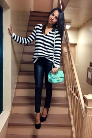 black H&amp;M sweater - aquamarine GoJane bag - black Forever 21 pants