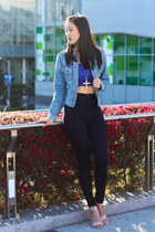 crop top Nordstrom top - denim jacket Lucky Brand jacket
