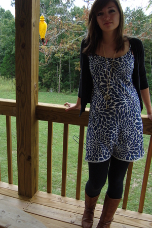dress - sweater - necklace - leggings - boots