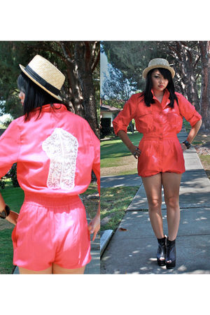 pink J Faye suit - beige Forever 21 hat - black Ebay shoes - black Forever 21 br