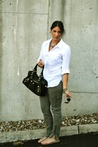 black balenciaga bag - gold Ray Ban sunglasses - white Forever 21 blouse