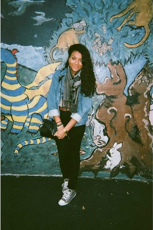 BDG jeans - denim Urban Renewal jacket - floral scarf - bag - casio watch