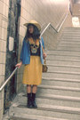 Gold-second-hand-skirt-sky-blue-gap-skirt-navy-dr-martens-boots