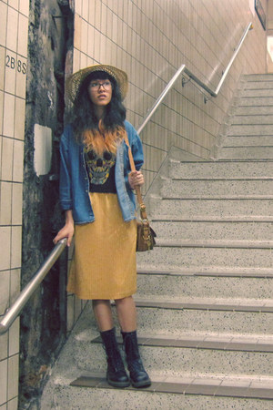 gold second hand skirt - sky blue Gap skirt - navy Dr Martens boots