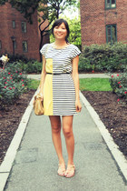black H&M belt - light yellow Mango dress - neutral kate spade bag