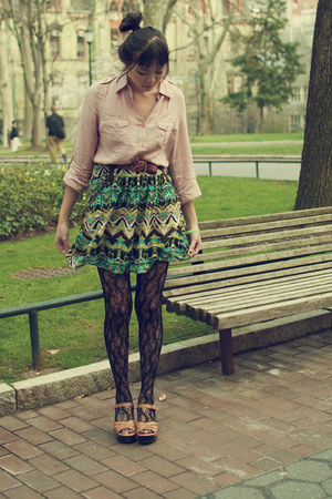 black floral lace asos tights - light pink Forever 21 21 blouse - dark green JCp