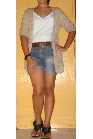 beige thrifted cardigan - white moms shirt shirt - shorts - brown belt - black s