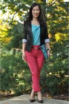 turquoise blue Forever 21 shirt - black linen Forever 21 blazer
