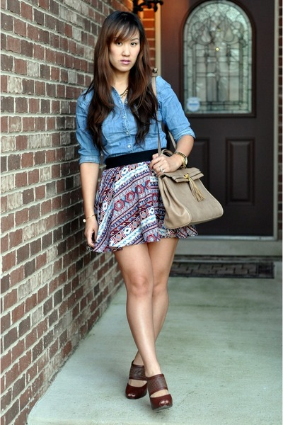 Forever 21 skirt - sky blue chambray H&M shirt - camel Aldo bag