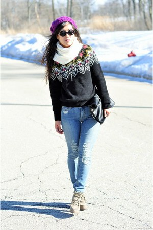bubble gum Forever 21 sweater - heather gray DV by dolce vita boots