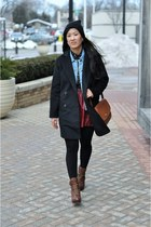sky blue denim Forever 21 jacket - maroon lace up Kenneth Cole boots