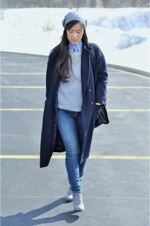 navy oversize wool Stylenanda coat - heather gray ankle Deena & Ozzy boots