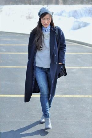 navy oversize wool Stylenanda coat - heather gray ankle Deena & Ozzy boots