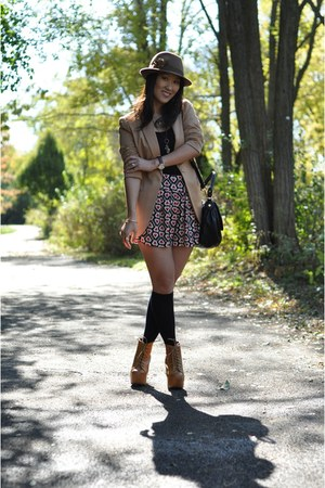 tan Forever 21 blazer - mustard lita Jeffrey Campbell boots