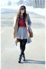 Black-platform-ankle-dollhouse-boots-heather-gray-zara-coat