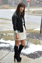 black varsity Forever 21 jacket - black lace up Jessica Simpson collection boots