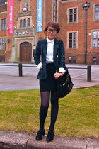 teal H&M blazer - black Prada bag - black Topshop skirt