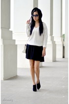 white knitted H&M sweater - black straw hat Penshoppe hat