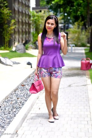 floral vintage shorts - flats Suelas shoes - peplum vintage top