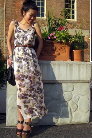 maxi dress Urban Outfitters dress - Mango bag - DSW wedges - asos belt