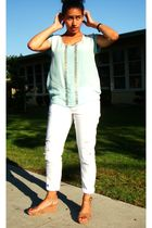 blue Forever 21 blouse - white Levis jeans - brown Nine West shoes - gold neckla