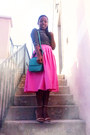 Navy-stripes-h-m-shirt-hot-pink-midi-handmade-skirt-beige-nude-zara-heels