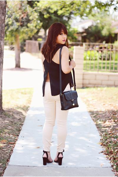 black leather Marc Jacobs bag - black suede Zara sandals