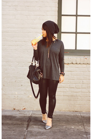 oversized Zara top - faux leather Dailylook leggings - duffle Steve Madden bag