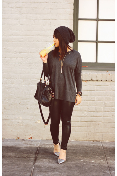 oversized Zara top - faux leather Dailylook leggings - duffle Steve Madden bag