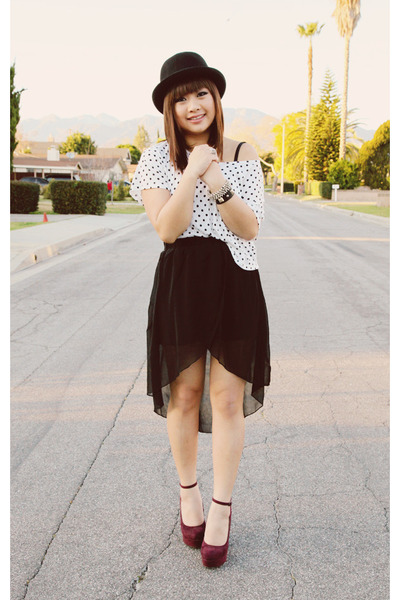 wine Forever 21 heels - tulip 20 20 Ave skirt - polka dotted Forever 21 top
