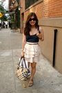 Blue-top-pink-urban-outfitters-skirt-isaac-mizrahi-for-target-shoes-beige-