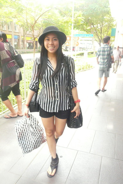 sheer vintage blouse - thrifted shoes - black hat - sm bag - Greenhills shorts