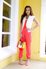 Salmon-suiteblanco-heels-burnt-orange-lancel-bag-coral-zara-top