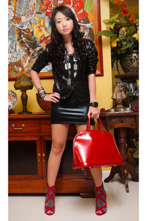 black Poisonberry blazer - black Glitterati skirt - black Cuteture necklace - re