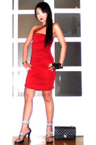 red Glitterati dress - black Zoo Shop shoes - black Chanel purse - black Zara gl