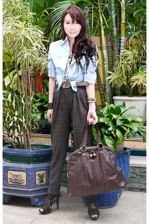 dark brown Bumper boots - dark brown muse purse YSL bag - light blue online top