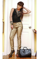 gold Glitterati accessories - black DAS boots - gold Zara jeans