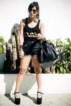 dark brown assorted accessories - black heel-less DAS shoes - black Celine bag