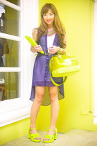 chartreuse Furla bag - navy Forever 21 dress - chartreuse poise heels