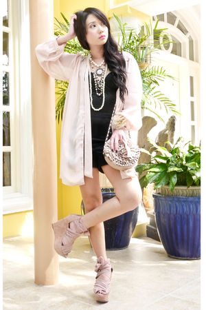 pink Topshop coat - black Glitterati top - black H&M shorts - pink Topshop - pin