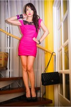 hot pink Glitterati dress - black michael antonio heels - black Chanel purse - m