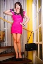 hot pink Glitterati dress - black michael antonio heels - black Chanel purse - m