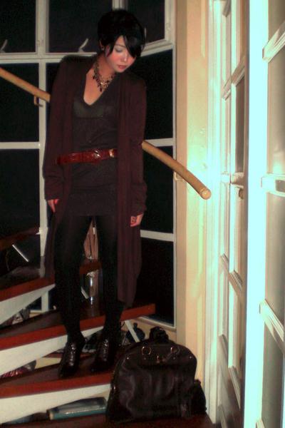 brown Valentino belt - brown Nine West shoes - green Mango dress